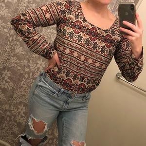 Forever 21 Harvest theme blouse for Thanksgiving